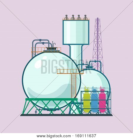Industrial Plant Isolated, Refinery Processing of Natural Resources, Industrial Pipes and Tanks ,Chemical Industry