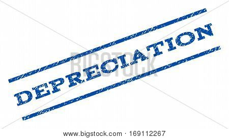 Depreciation watermark stamp. Text tag between parallel lines with grunge design style. Rotated rubber seal stamp with dirty texture. Vector blue ink imprint on a white background.