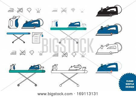 Isolated iron and hand steamer with symbols on ironing board and beaker. Modern vector illustration