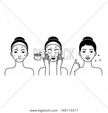 Face skin care set with girl isolated vector illustration. Girl washing her face, cleansing and applying cosmetic cream. Facial treatment, face skin hygiene procedures, beauty and healthy lifestyle.