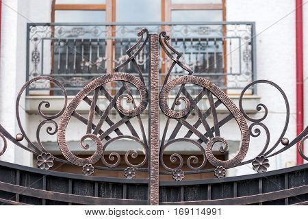 ornaments of wrought iron fence with gate