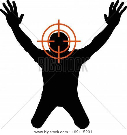 man with hands up as target - vector illustration