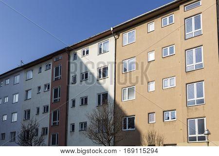 Facade Of Social Housing In Berlin Kreuzberg