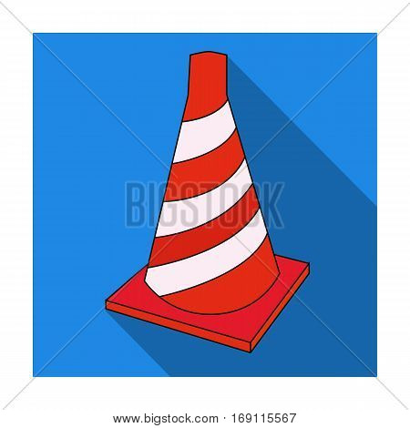 Traffic cone icon in flat design isolated on white background. Architect symbol stock vector illustration.