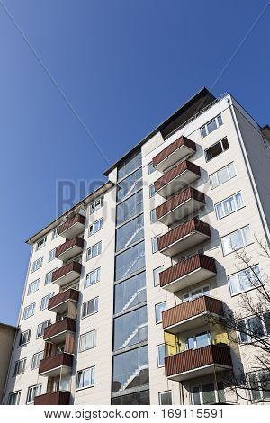 Social Housing Skyscraper With Blue Sky In Berlin