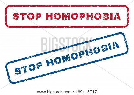 Stop Homophobia text rubber seal stamp watermarks. Vector style is blue and red ink tag inside rounded rectangular banner. Grunge design and dust texture. Blue and red signs.