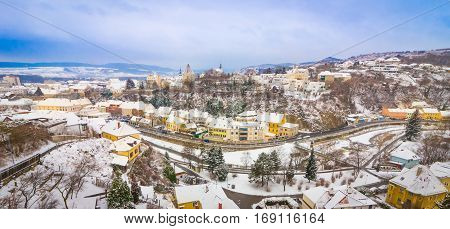 Winter panorama of snow covered Krems an der Donau in Austria