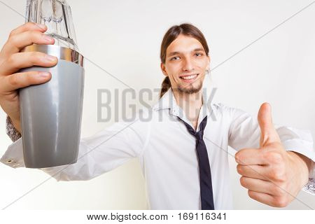 Happy Bartender Makes Gesture.