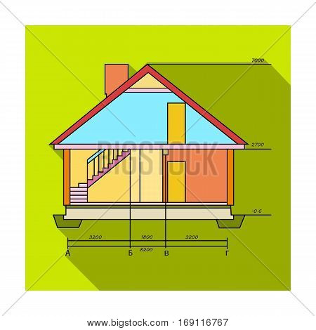 Technical drawing of house icon in flat design isolated on white background. Architect symbol stock vector illustration.