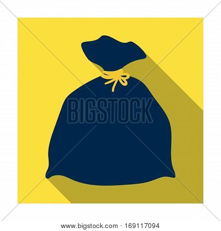 Garbage bag icon in flat design isolated on white background. Cleaning symbol stock vector illustration.