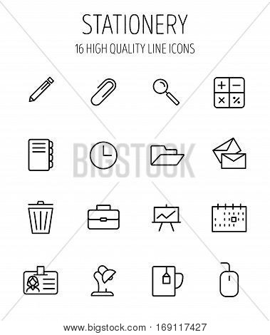 Set of stationery icons in modern thin line style. High quality black outline office symbols for web site design and mobile apps. Simple stationery pictograms on a white background.