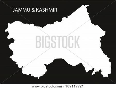 Jammu Kashmir India Map Black Inverted