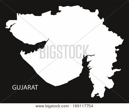 Gujarat India Map black inverted silhouette graphic
