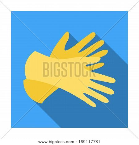 Rubber gloves icon in flat design isolated on white background. Cleaning symbol stock vector illustration.