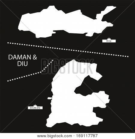 Daman And Diu India Map Black Inverted