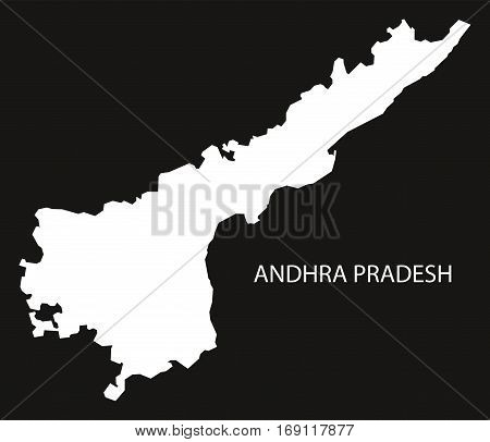 Andhra Pradesh India Map Black Inverted