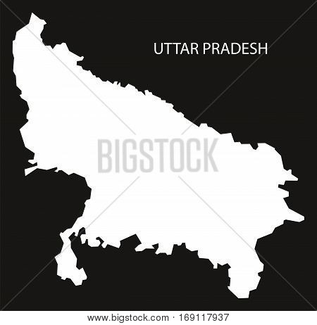 Uttar Pradesh India Map black inverted silhouette