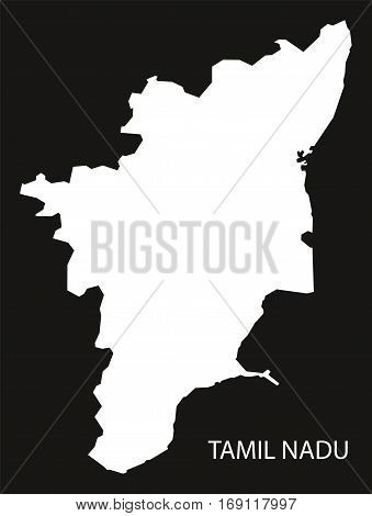 Tamil Nadu India Map black inverted silhouette
