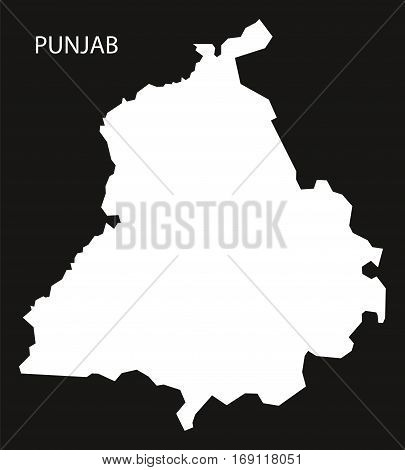 Punjab India Map black inverted silhouette graphic