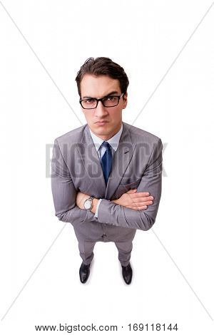 Unhappy businessman isolated on white