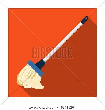 Mop icon in flat design isolated on white background. Cleaning symbol stock vector illustration.