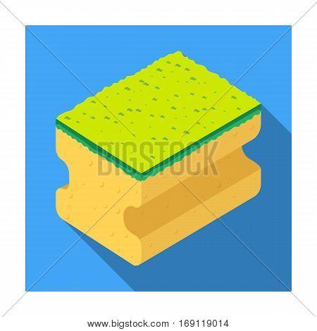 Dishwashing sponge icon in flat design isolated on white background. Cleaning symbol stock vector illustration.