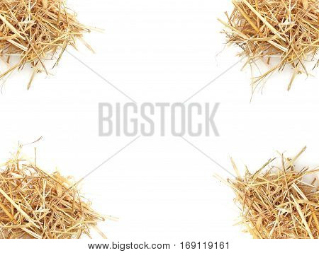 isolated Straw Dry hay . Mock up.