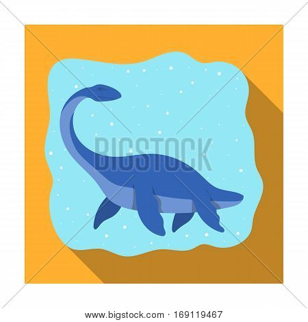 Sea dinosaur icon in flat design isolated on white background. Dinosaurs and prehistoric symbol stock vector illustration.