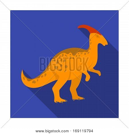 Dinosaur Parasaurolophus icon in flat design isolated on white background. Dinosaurs and prehistoric symbol stock vector illustration.