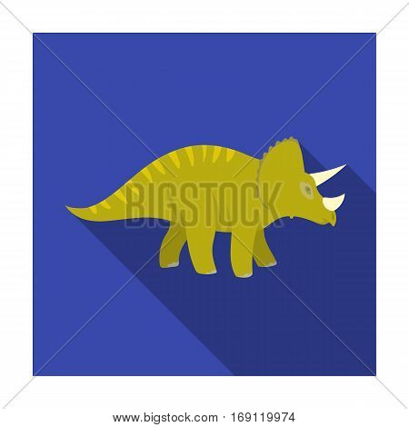 Dinosaur Triceratops icon in flat design isolated on white background. Dinosaurs and prehistoric symbol stock vector illustration.