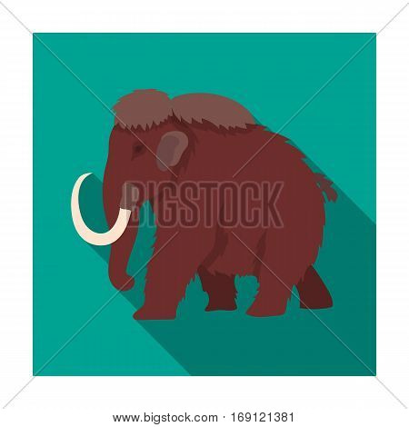 Mammoth icon in flat design isolated on white background. Dinosaurs and prehistoric symbol stock vector illustration.