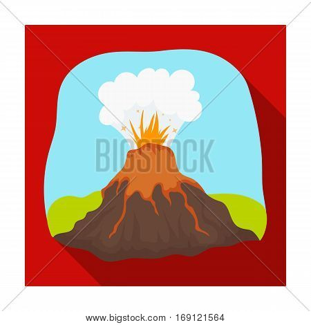 Volcano eruption icon in flat design isolated on white background. Dinosaurs and prehistoric symbol stock vector illustration.