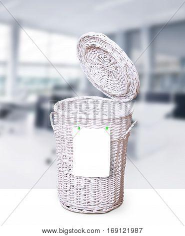 Large white wicker basket for office trash