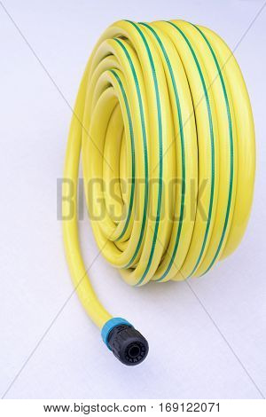 Yellow garden hose-pipe on a white background