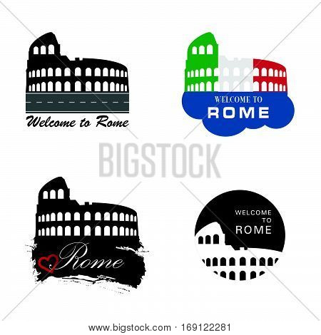 Colosseum Rome Sign Vector Illustration