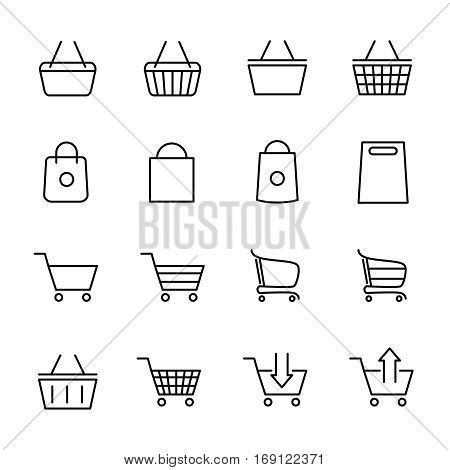 Set of shopping cart icons in modern thin line style. High quality black outline bag symbols for web site design and mobile apps. Simple cart pictograms on a white background.