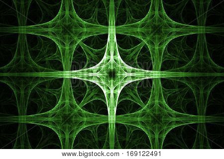 Green spikes cross design. Abstract background. Isolated on black background.