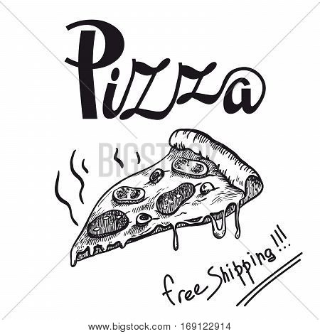 piece fragrant freshly prepared pizza on a white background