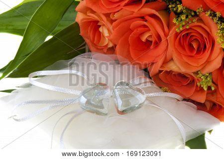 Crystal Heart And Orange Rose 01