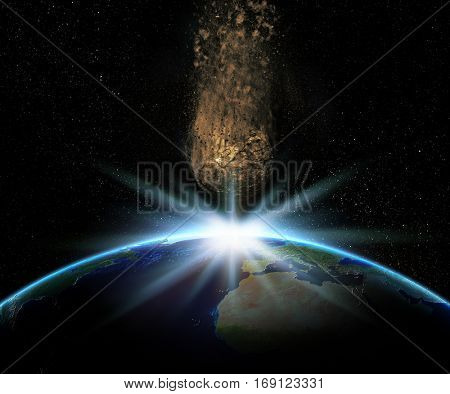 3D render of Earth with huge asteroid hurtling towards it - elements of this image furnished by NASA
