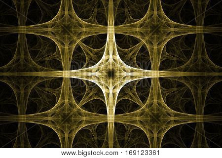 Yellow spikes cross design. Abstract background. Isolated on black background.