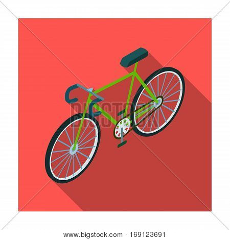 Bicycle icon in flat design isolated on white background. Transportation symbol stock vector illustration.