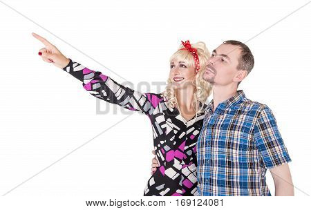 Funny Retro Family Couple Embracing And Pointing Up Isolated