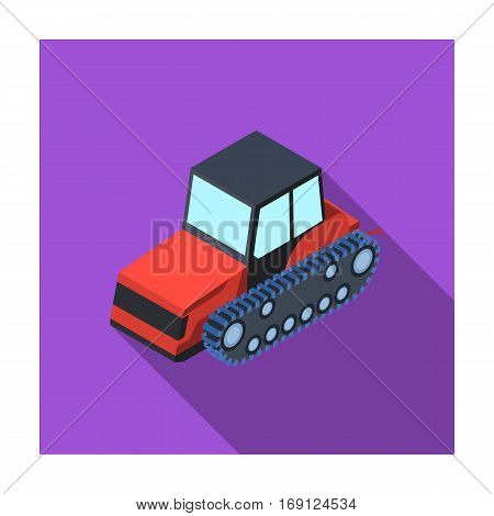Tracked tractor icon in flat design isolated on white background. Transportation symbol stock vector illustration.