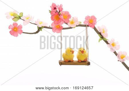 Easter chick ei grass basket nest flower swing friends big small decorative animal lugged