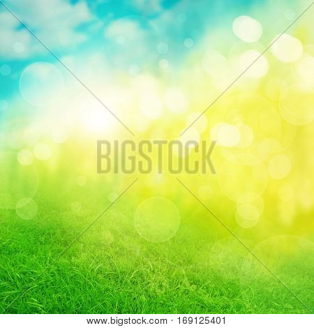 Abstract nature green blue yellow background