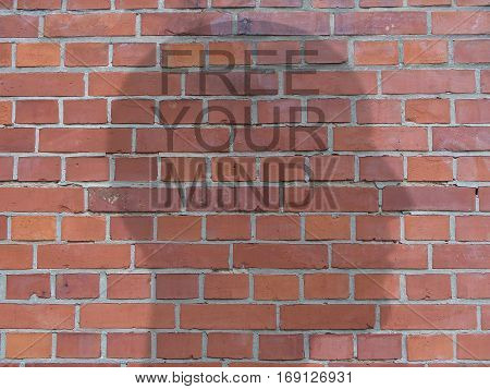 Text Free Your Mind On Head Shadow Silhouette On Red Brick Wall illustration
