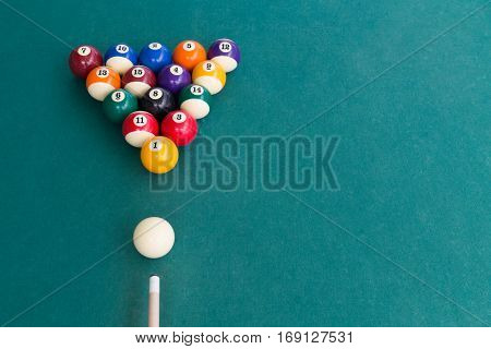 Overhead View Of Pool Billards Snooker Balls On Green Table