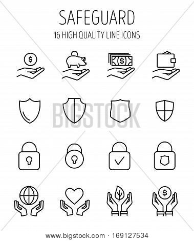 Set of safeguard icons in modern thin line style. High quality black outline security symbols for web site design and mobile apps. Simple guard pictograms on a white background.