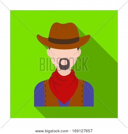 Cowboy icon in flat design isolated on white background. Rodeo symbol stock vector illustration.